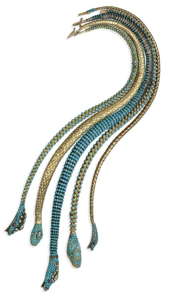 FIVE ANTIQUE TURQUOISE AND DIAMOND NECKLACES. Each designed as an articulated snake, one with gold scale body, the head and tail end set with turquoises and diamonds, the eyes as cabochon garnets, from the mid 19th century.