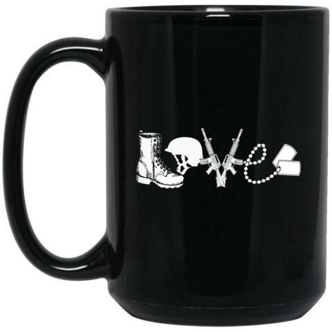US Army Soldier Love 15 oz. Black Mug