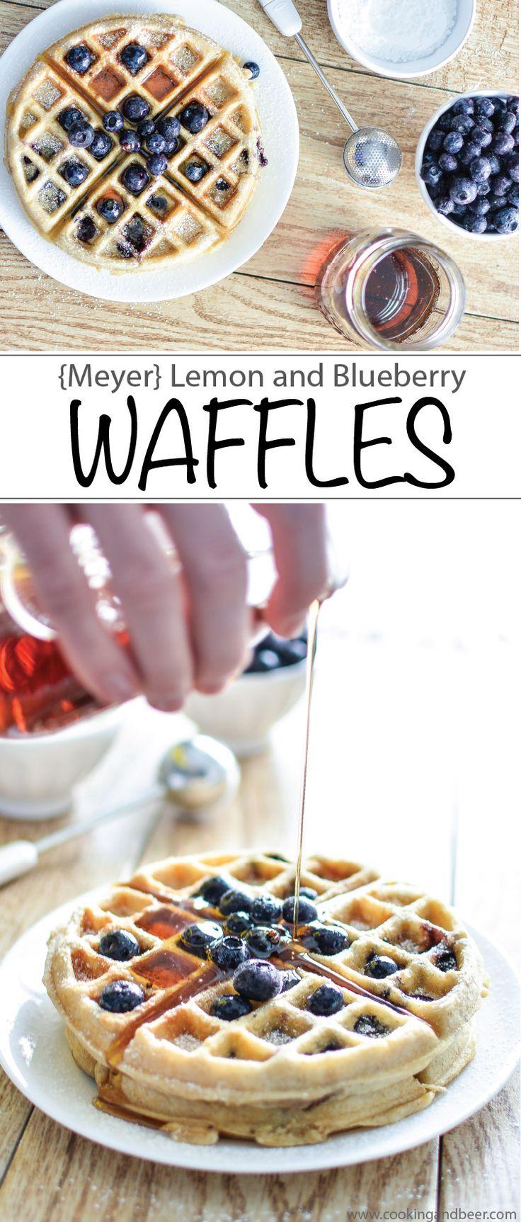 (Meyer) Lemon and Blueberry Waffles - The perfect recipe for breakfast, brunch or breakfast for dinner!