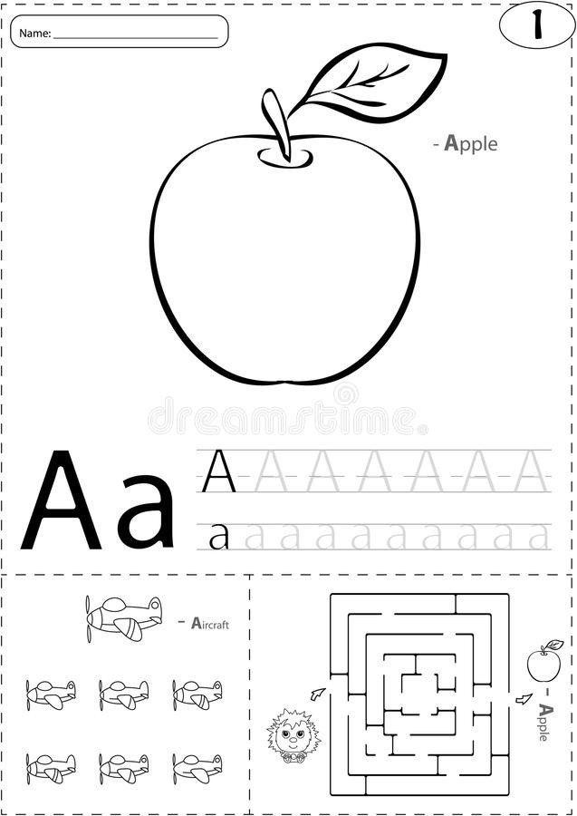 Apple Worksheets Kindergarten Apple Alphabet Stock