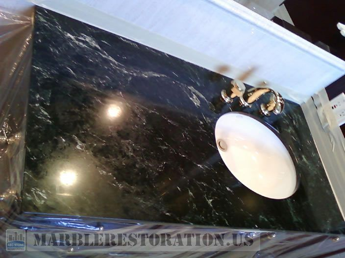 Etches And Clouds On Tarnished Serpentine Marble Vanity In 2020 Marble Restoration Marble Vanity Clouds
