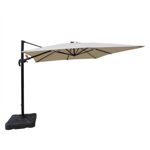 Hampton Bay 11 Ft Aluminum Cantilever Solar Led Offset Outdoor Patio Umbrella In Putty Tan Yjaf052 Pu The Home Depot In 2020 Patio Umbrella Outdoor Patio Umbrellas Patio