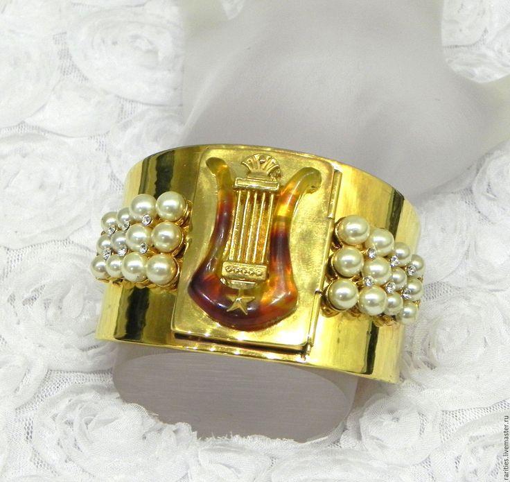 Купить Браслет Муза,Mary Marguet,Франция,лира,музыка,позолота,50ые годы - браслет