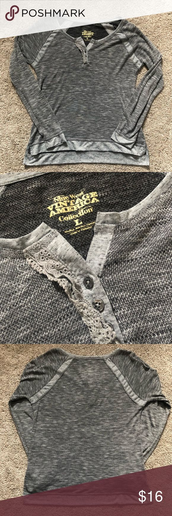 Nine West Collection Heather Gray Top Nine West Collection - Vintage America Heather Gray Top. Lightweight, sweatshirt material. High low style. Buttons at top - with some ruffles. Nine West Tops Tees - Long Sleeve