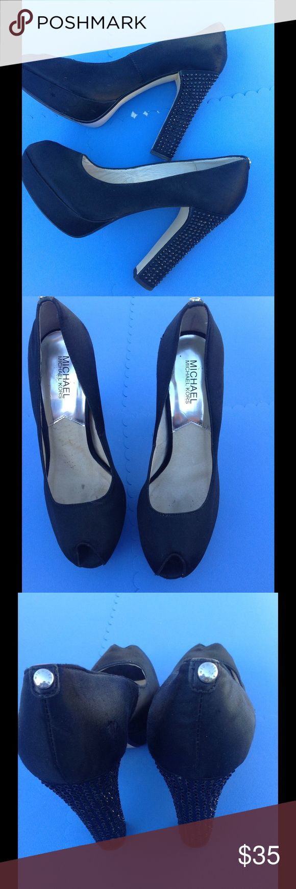 """Michael KORS Satin Crystal Bling Heels Pumps So adorable!!!!! Michael Kors """"Nadia"""" heel. Black satin, peep toe, Heavily embellished. MK logo circle on heel,  """"these shoes have been worn and have a scuffed area,,, see pic 3 ....  Heels are 5"""" Michael Kors Shoes Platforms"""