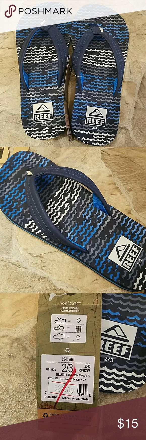 Ahi flip-flops. Kids reef flip-flops. Blue, gray, and white colored. Never been worn! New with tags! All offers considered and please feel free to ask questions. Reef Shoes Sandals & Flip Flops