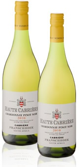 A delicious South African wine! Haute Cabriere Chardonnay Pinot Noir. We drank this at the Franschhoek Country House and Villas. South Africa