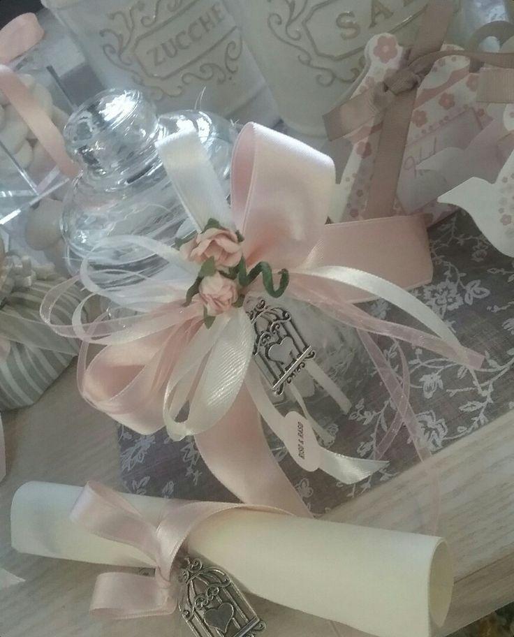Barattolino vetro; decoro gabbietta; colori : Ivory - Peach