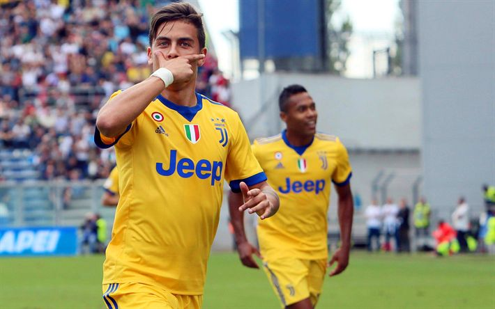 Download wallpapers Dybala, 2017, Juve, football stars, goal, Paulo Dybala, footballers, Juventus, Italy, Serie A