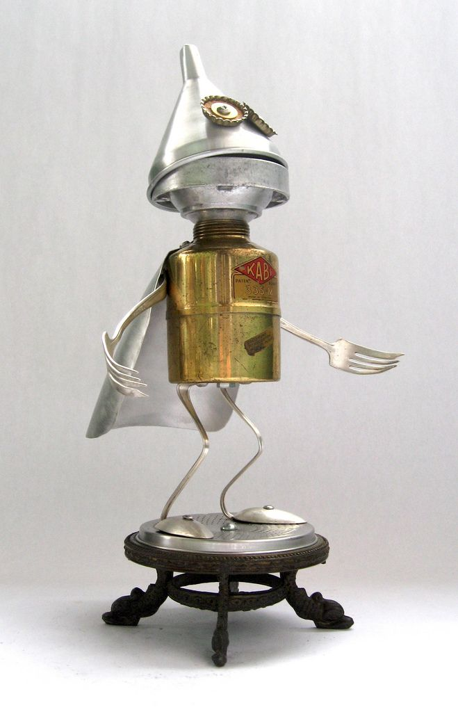 https://flic.kr/p/7wAxEz | Kabi 469 - Found Object Robot Assemblage Sculpture by Brian Marshall | Robot sculpture assembled from found objects by Brian Marshall - Wilmington, DE. Items included in my sculptures vary from vintage household kitchen items to recycled industrial scrap. Some of my favorite items to use are old oil cans, aluminum measuring spoons, electrical meters, retro blenders, anodized cups, and pencil sharpeners.
