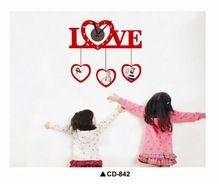 #842 , trasporto di alta qualità diy casa moderna decorazione 3d pvc soggiorno rosso amore word design pattern orologio da parete home decor(China (Mainland))