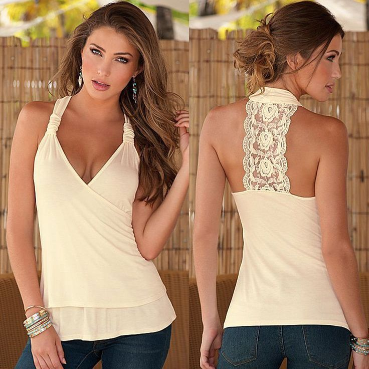 Women Summer Sexy Lace V-Neck Halter Sleeveless Blouse