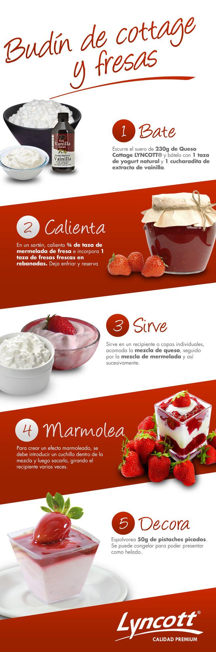 Budín de cottage y fresas #RecetaFácil #Postre #Fresas #Budín