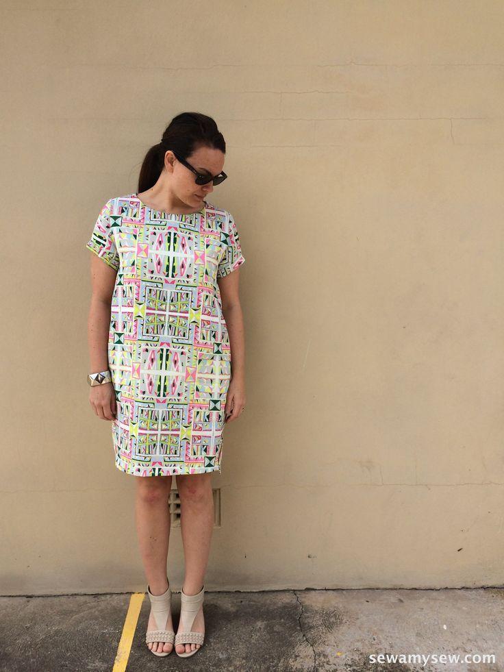 Named Clothing Inari Tee Dress in Geometric medium weight polyester
