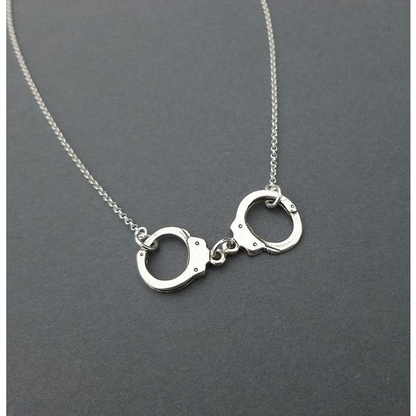 sterling silver handcuff necklace gift for her ($35) ❤ liked on Polyvore featuring jewelry, necklaces, accessories, bijoux, sterling silver jewellery, rolo chain necklace, sterling silver jewelry, handcuff necklaces and handcuff jewelry