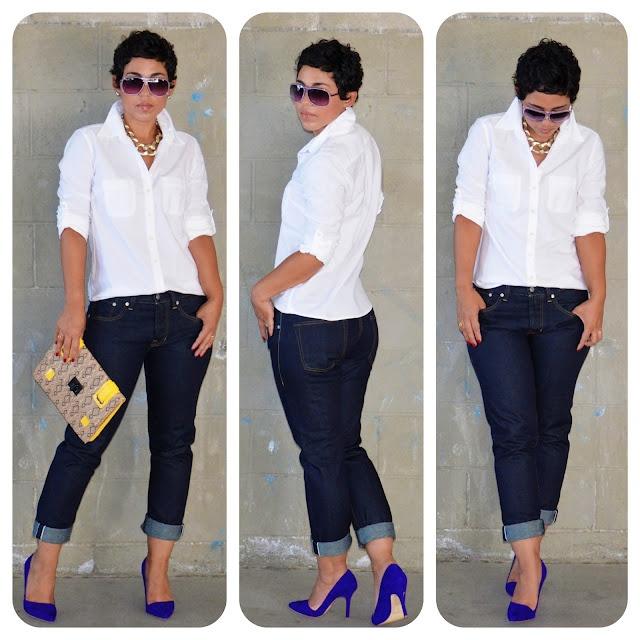 crisp white button up, dark denim + blue suede shoes