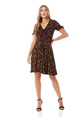 8eb72b75a7da Roman Originals Women Ditsy Floral Print Tea Dress - Ladies V-Neckline  Short Sleeve Knee