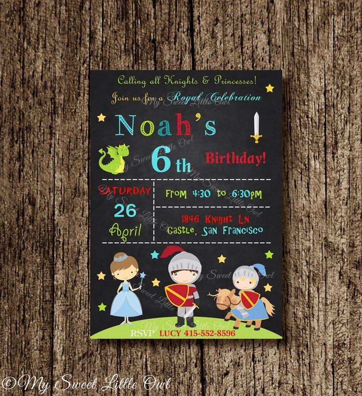 Boy Princess knight chalkboard invitation - chalkboard invitation - princess knight invitation - princess invite - boy knight invitation by MySweetLittleOwl on Etsy https://www.etsy.com/listing/218987865/boy-princess-knight-chalkboard