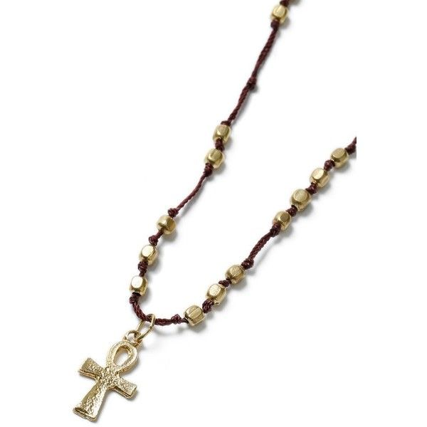 TOPMAN Cross Beaded Cross Necklace ($16) ❤ liked on Polyvore featuring men's fashion, men's jewelry, men's necklaces, brown, mens cross necklace, mens gold cross necklace, mens gold necklace, mens beaded necklaces and mens crucifix necklace