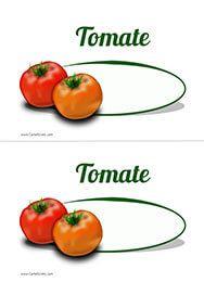 Un cartel para el precio de los tomates.