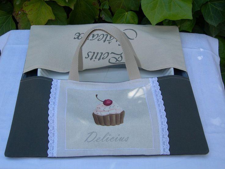 Nouvelle collection Sac à tarte ou porte plat en coton avec inscription en…