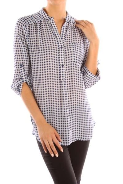 PLAID PRINT TAB SLEEVE V NECK COLLARED TOP WITH BUTTON DOWN DETAIL AND SIDE POCKET