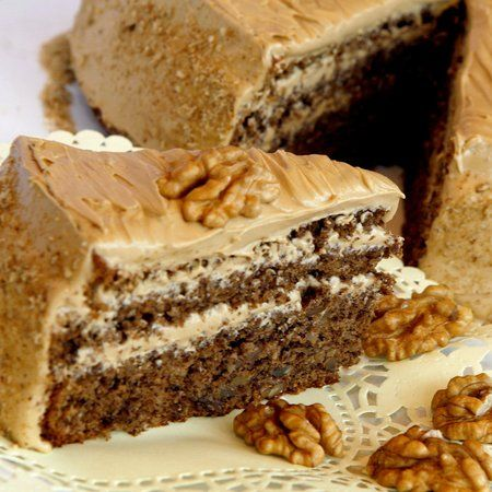 Kávés diótorta - Hungarian walnut cake. Here is a recipe which is very close to the way my Grandma made it....She would cook it in a tube pan and serve it with REAL whipped cream, not icing!!!