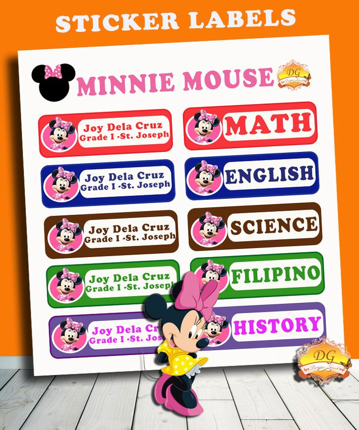 MINNIE MOUSE STICKER LABELS :) BACK TO SCHOOL!! :)   Organize your child's school supplies such as books and notebooks with stickers! Put your child's name and school/ class section. Customize ANY CHARACTER and ANY COLOR! <3     Send us a message on facebook DG Precious Touch for your inquiries :)