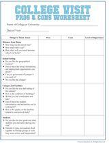 College Visit Checklist Worksheet - FamilyEducation.com
