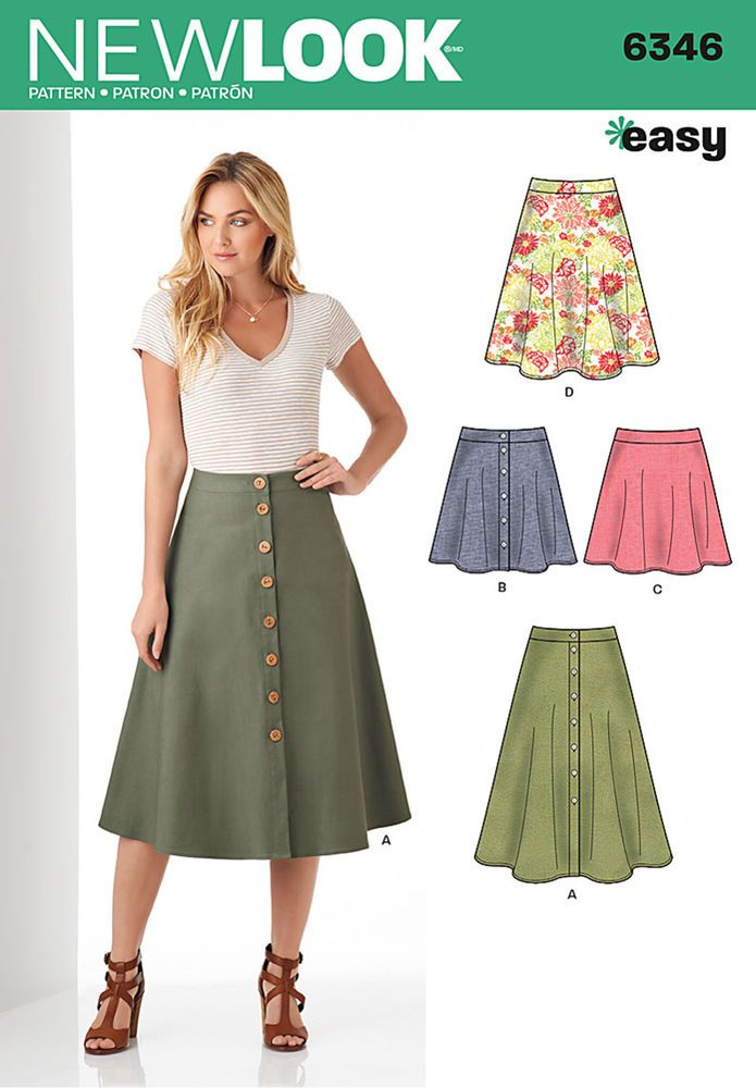 this easy, flared full skirt pattern for miss includes midi length or mini skirt with button front closure, and knee length or mini length skirt with back zipper. new look sewing pattern.