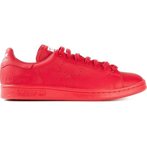Adidas By Raf Simons 'Stan Smith' sneakers (815 AUD) ❤ liked on Polyvore featuring shoes, sneakers, sapatos, red, red shoes, red flat shoes, red sneakers, laced up shoes and perforated leather sneakers