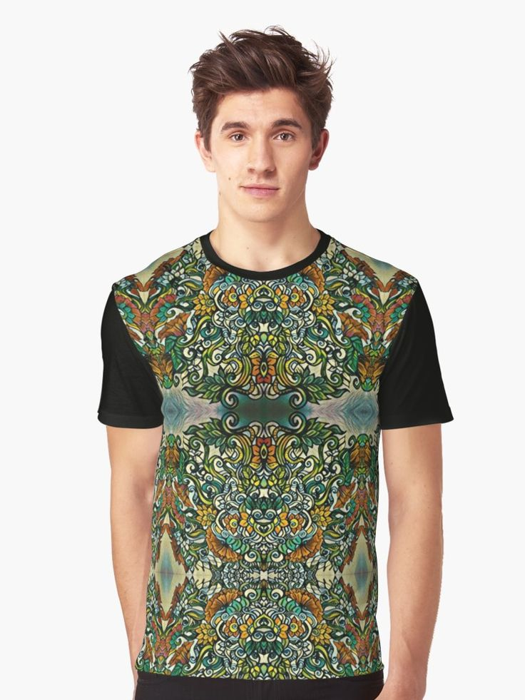 Oriental garden Graphic T-Shirts  Brush marker drawing made to digital pattern   floral flowers pattern zentangle flourish prisma brushmarker colorful tropical garden bouquet spring summer botanical drawing tropical garden oriental garden rock tattoo coloured ink boho bohemian ornament ornate