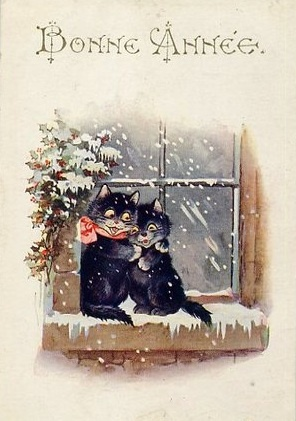 French Happy New Year postcard cats in window