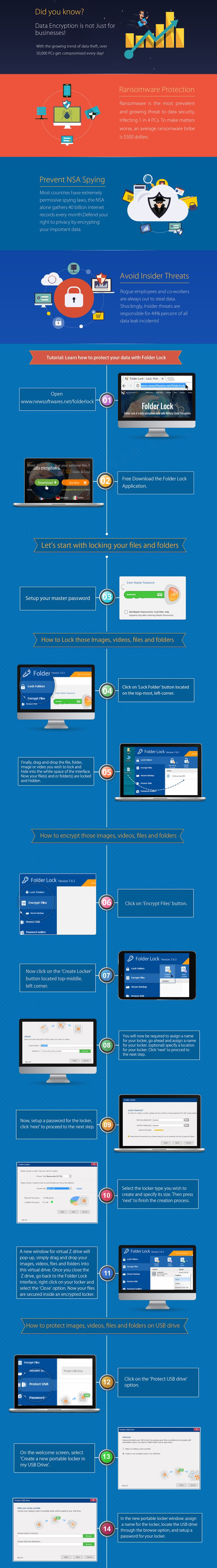 Tutorial: Learn how to protect your data with Folder Lock. #InfoGraphics #DataProtection #FolderLock