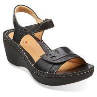 Clarks Ladies Wedge Sandals Un Dory Black Leather UK 6