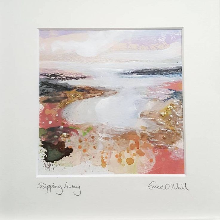 'Slipping Away' is an acrylic & mixed media Irish Seascape with touches of 24ct gold leaf. Painted on 5x5* 300gsm cold pressed watercolour paper, which has been mounted in a 8x8* handnade frame. *approx measurements. €65 P&P I use my original art to connect my sea loving customers