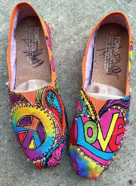 Peace love and paisleys Painted TOMS with BLING by dreaminbohemia