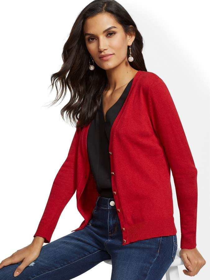 7cc01b17add New York & Co. 7th Avenue - Petite Jeweled V-Neck Chelsea Cardigan ...