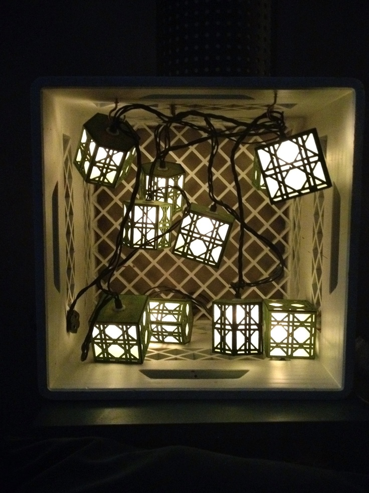 DIY light, old crate with lantern string lights. My Apartment and Stuff Pinterest DIY and ...