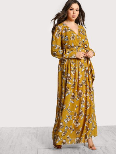 02af1e9316 Floral Print Long Sleeve Maxi Dress -SheIn(Sheinside) | Shein | Maxi ...