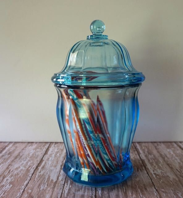 Vintage Blue Candy Jar Apothecary Jar Thick Glass Display Jar Wedding Candy Bar Cotton Ball Jar Kitchen Storage Heavy Blue Glass by passedloves on Etsy https://www.etsy.com/listing/231319497/vintage-blue-candy-jar-apothecary-jar