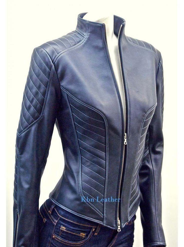 Women Leather Quilted Jacket New Genuine Lambskin Designer Stylist # GF903 #Handmade #BasicJacket