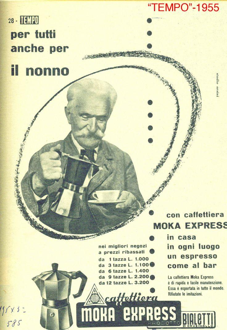 """Siamo nel 1955 e la #Moka è ancora la protagonista di questa pagina pubblicitaria su """"Tempo"""". Sono passati quasi 60 anni e, come allora, il caffè della Moka mette d'accordo proprio tutti. #advertising"""