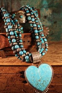 Dan Dodson Carved Turquoise Heart Necklace - available at CowgirlKim.com