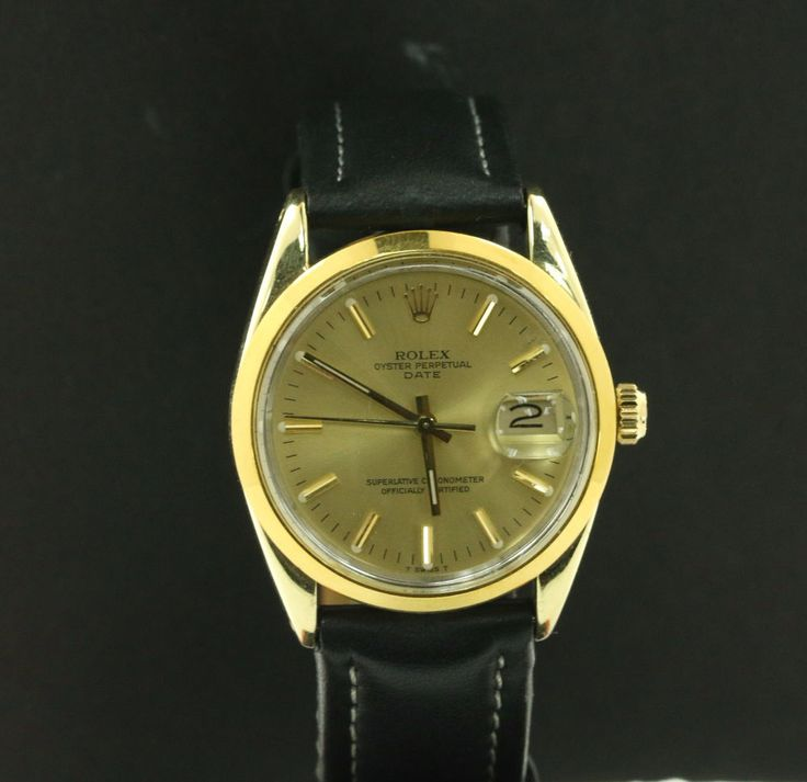 Rolex 14k Yellow Gold Shell Date Watch Champagne Dial 15505 Alligator Leather #Rolex #Casual