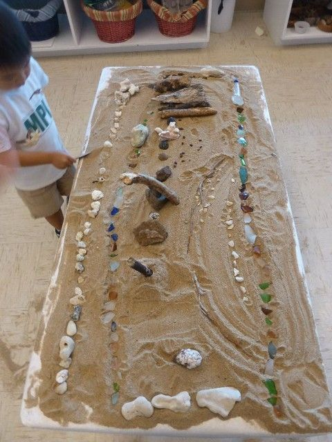 "More lovely additions to sand play - logs, shells, stones & sea glass ("",)"