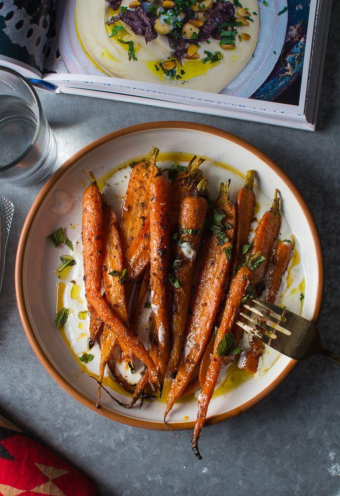 Harissa Roasted Carrots with Yogurt, Lemon, and Mint from Flourishing Foodie