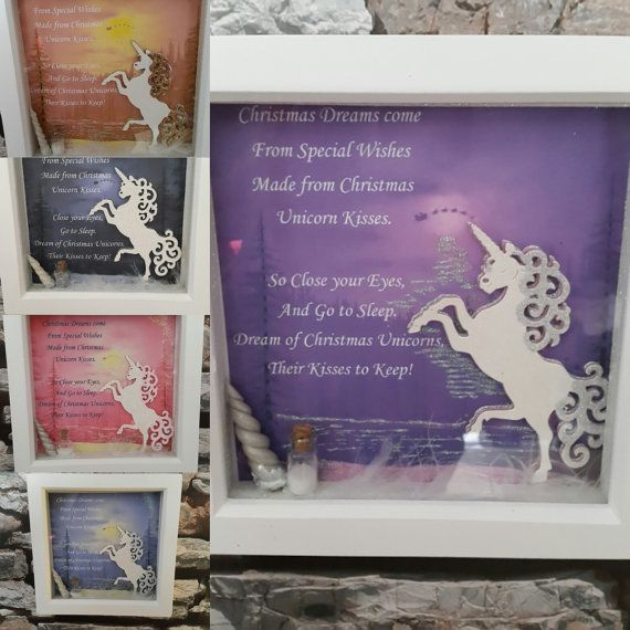 Box Framed Christmas Unicorn Picture with Unicorn Horn and Unicorn dust. Christmas scene with Father Christmas sleigh silhouette and Poem.