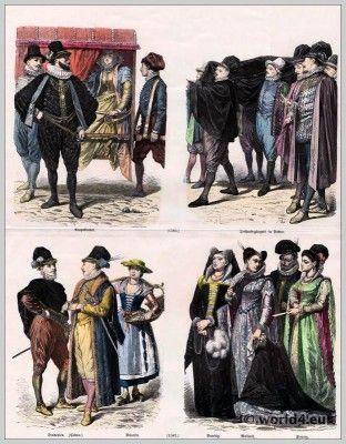 Italië renaissance mode einde van de 16e eeuw.  16e eeuwse kostuums.  Middeleeuwse kleding.  Middeleeuwen jurken.