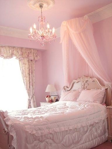 Shabby chic bedroom  1.{ffpaws prefers blue in her room but I love the canopy}